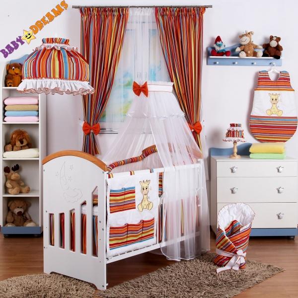 10-ti dílný set Baby Dreams SAFARI - ŽIRAFA - proužek pomeranč (