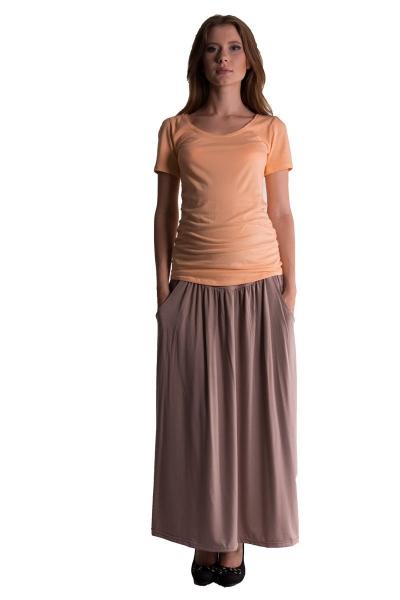 Be MaaMaa Maxi dlouhá sukně MAXINA  - béžová/cappuccino