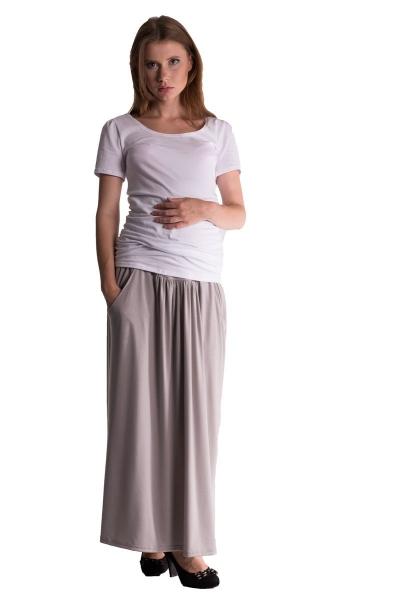 Be MaaMaa Maxi dlouhá sukně MAXINA  - sv. šedá