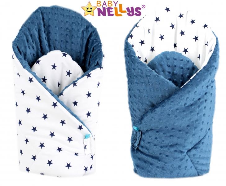 Luxusní zavinovačka MINKY BABY - oboustranná Hvezdičky tm. modré v bílé - MINKY Baby, Oboustranná, Hvezdičky tm. modré v bílé/ tm. modrá Minky