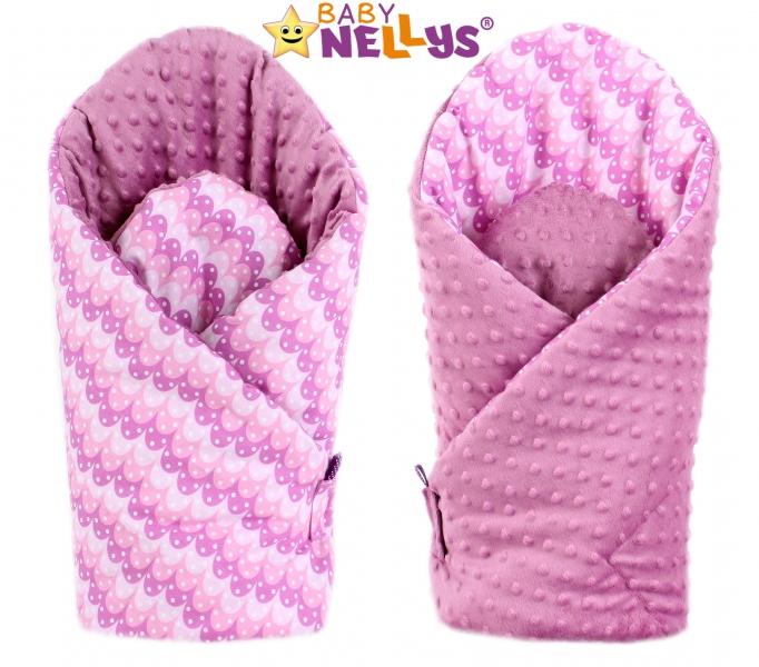 Luxusní zavinovačka MINKY BABY - oboustranná Paví péra růžová (MINKY Baby, Oboustranná, Paví péra růžová/ pudrově růžová Minky)