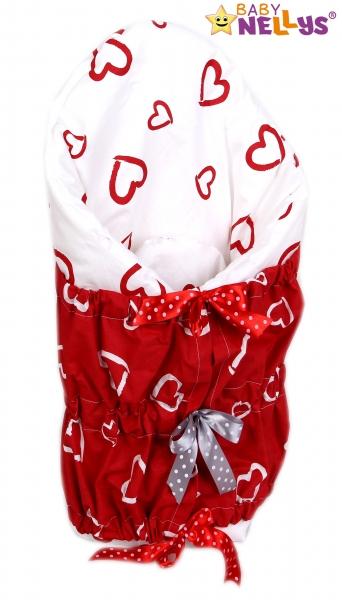 Zavinovačka, peřinka de lux - Červená srdíčka v bílé/Srdíčka bílá v červené