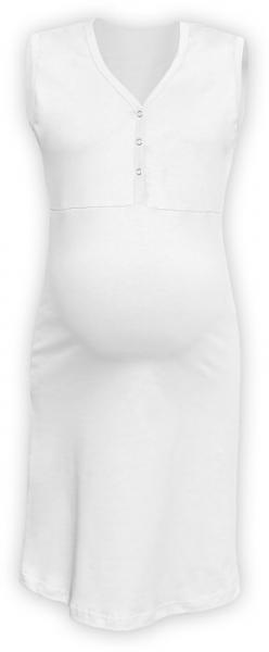 JOŽÁNEK Těhotenská, kojící noční košile PAVLA bez rukávu - bílá