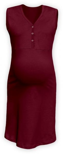 Těhotenská, kojící noční košile PAVLA bez rukávu - bordó, Velikost: L/XL