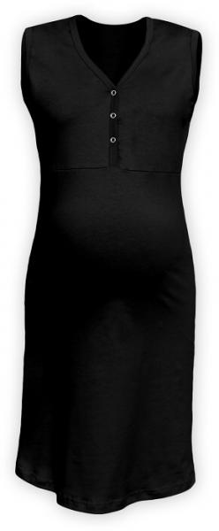 JOŽÁNEK Těhotenská, kojící noční košile PAVLA bez rukávu - černá