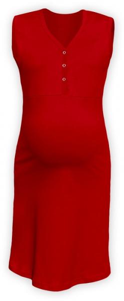 Těhotenská, kojící noční košile PAVLA bez rukávu - červená