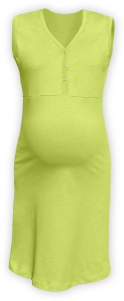JOŽÁNEK Těhotenská, kojící noční košile PAVLA bez rukávu - hráškově zelená