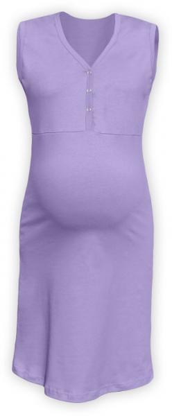 Těhotenská, kojící noční košile PAVLA bez rukávu - lila