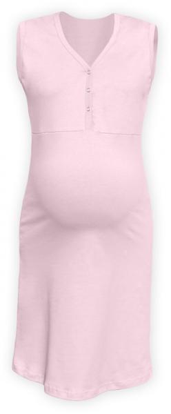 Těhotenská, kojící noční košile PAVLA bez rukávu - sv. růžová