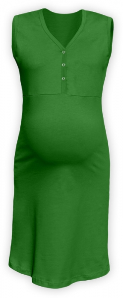 JOŽÁNEK Těhotenská, kojící noční košile PAVLA bez rukávu - zelená - L/XL