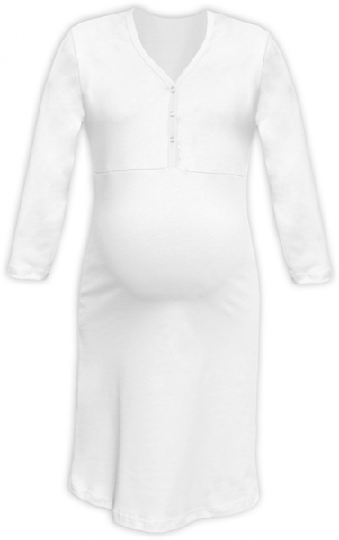 Těhotenská, kojící noční košile PAVLA 3/4 - bílá
