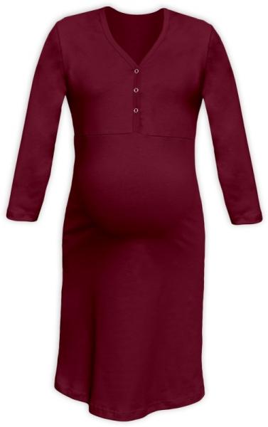 Těhotenská, kojící noční košile PAVLA 3/4 - bordó
