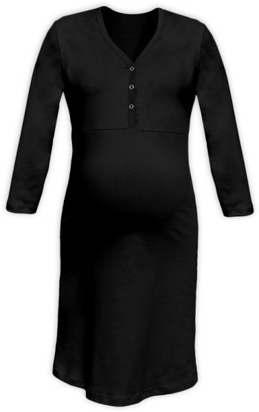 Těhotenská, kojící noční košile PAVLA 3/4 - černá