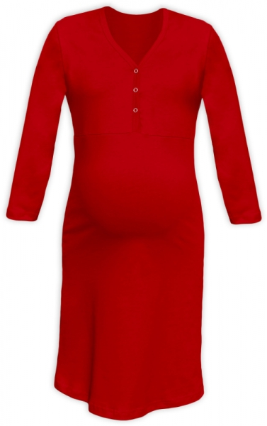 JOŽÁNEK Těhotenská, kojící noční košile PAVLA 3/4 - červená, Velikost: L/XL