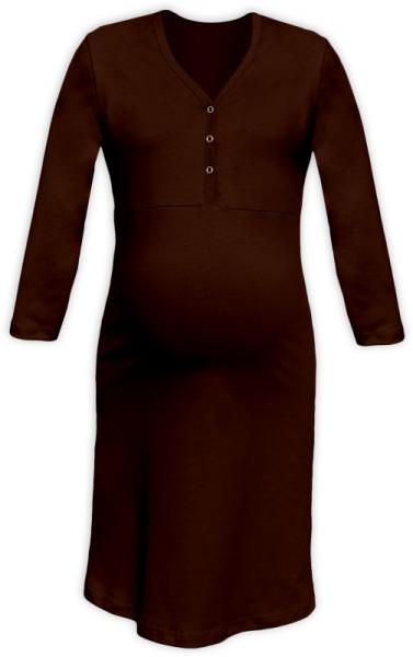 Těhotenská, kojící noční košile PAVLA 3/4 - hnědá