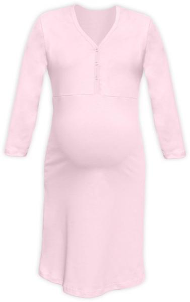 Těhotenská, kojící noční košile PAVLA 3/4 - sv. růžová