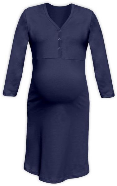 Těhotenská, kojící noční košile PAVLA 3/4 - tm. modrá