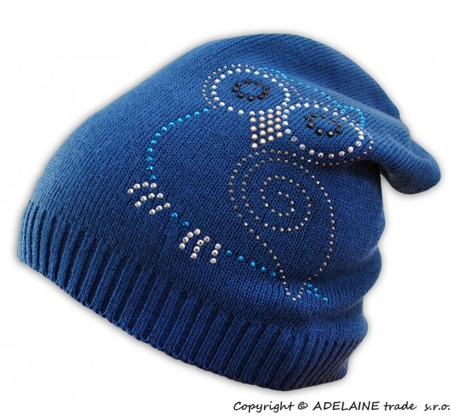 BABY NELLYS Jarní/podzimní čepice Sovička - jeansově modrá