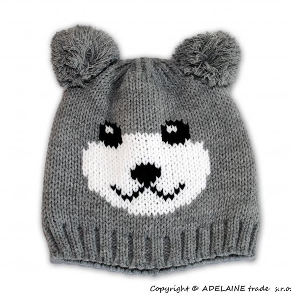 Zimní čepice PANDA - sv. šedá (Velikost čepičky dle výrobce 2 - 6 let.)