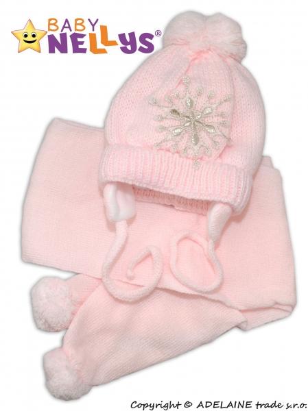 Zimní čepička s šálou - Sněhová vločka v růžové
