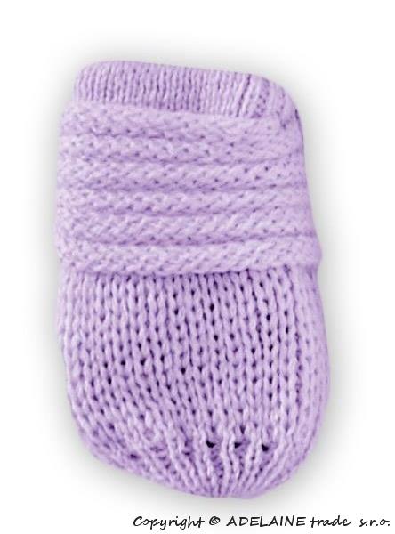 BABY NELLYS Zimní pletené  kojenecké rukavičky - lila