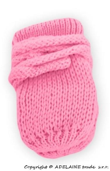 BABY NELLYS Zimní pletené  kojenecké rukavičky - růžové/malinové