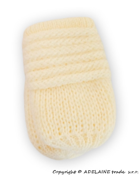 BABY NELLYS Zimní pletené  kojenecké rukavičky - smetana