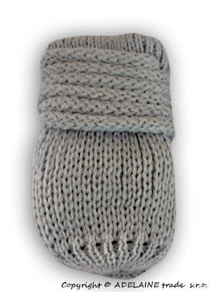 Zimní pletené  kojenecké rukavičky - sv. šedé, Velikost: 0-1rok