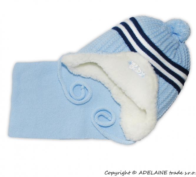 Zimní čepička s kožíškem a šálou Baby - sv. modrá