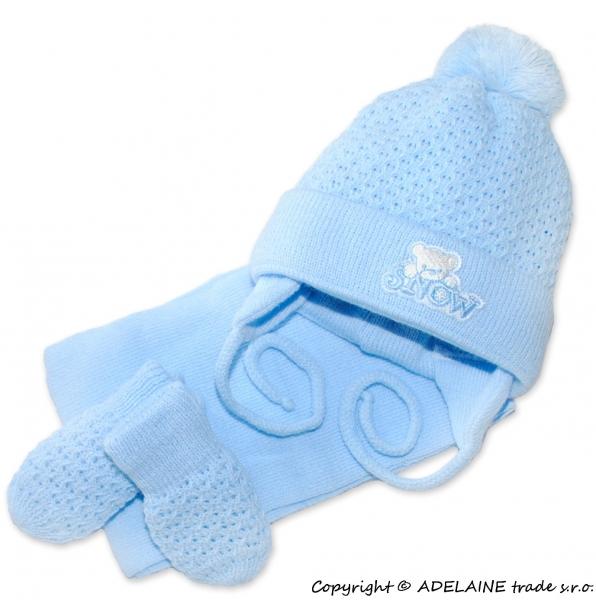 Sada - čepička, šál a rukavičky Medvídek - sv. modrá