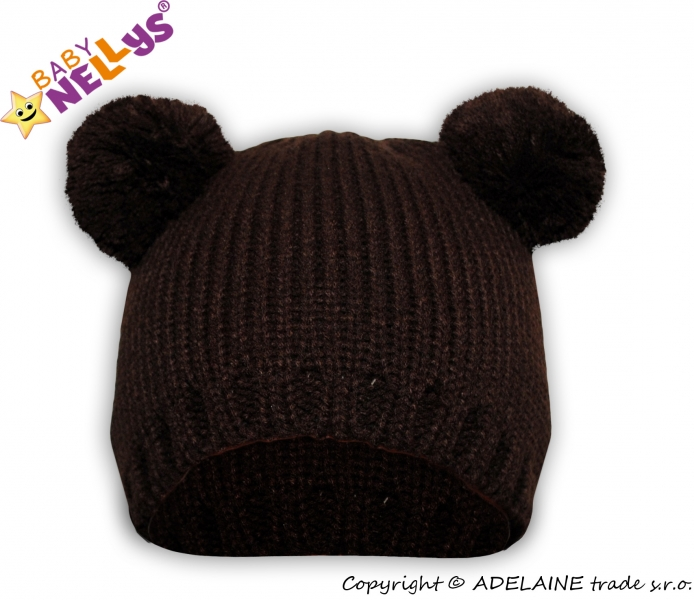 Zimní čepice Baby Nellys ® Medvídek  - tm. hnědý, Velikost: 38/40 čepičky obvod