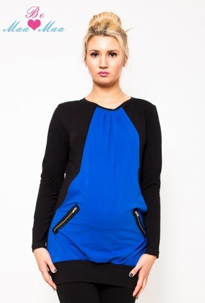Těhotenská tunika UMA - modrá/černá, Velikost: S/M