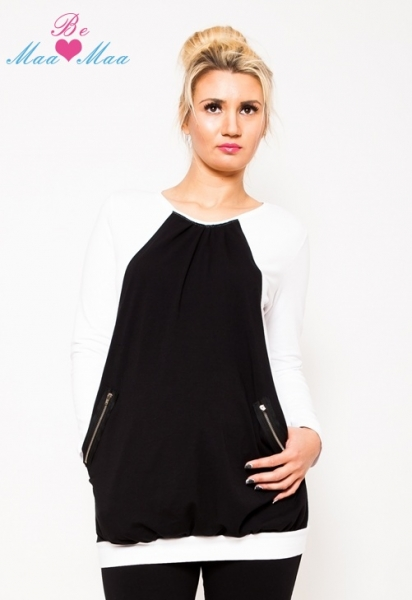 Be MaaMaa Těhotenská tunika UMA - bílá/černá - L/XL