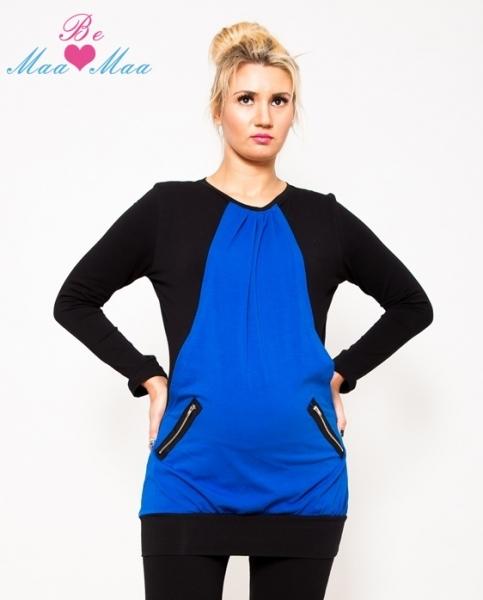 Těhotenská tunika UMA - modrá/černá