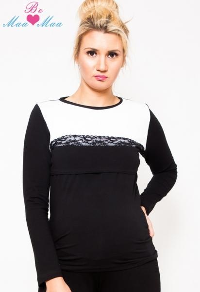 Těhotenské triko/halenka Ivana - černá/bílá, KOJÍCÍ