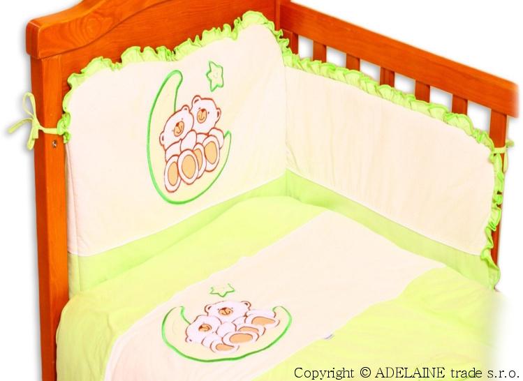 Mantinel s povlečením Terjan - Medvídci na měsíčku - jersey zelený, 135x100 cm
