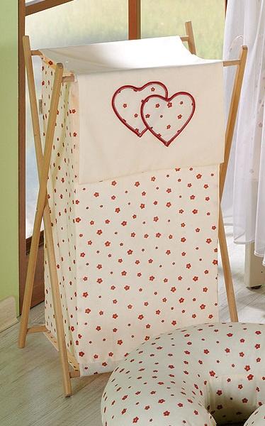 Luxusní praktický koš na prádlo - Srdíčko kytička ecru