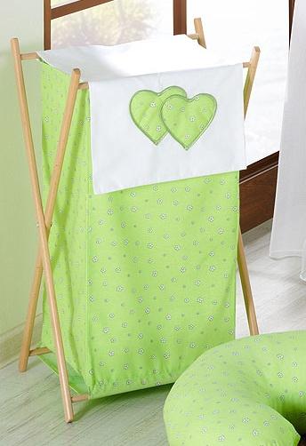 Luxusní praktický koš na prádlo - Srdíčko kytička zelená