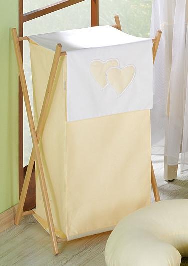 Luxusní praktický koš na prádlo - Srdíčko krémové