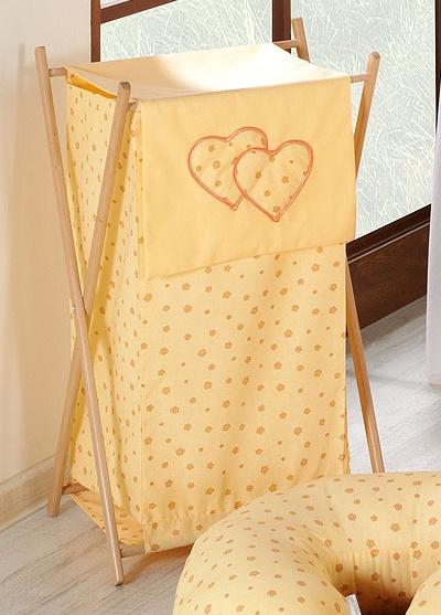 Luxusní praktický koš na prádlo - Srdíčko kytička pomeranč