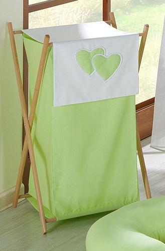 Luxusní praktický koš na prádlo - Srdíčko zelené