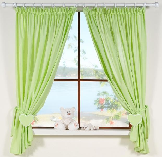 Krásné závěsy do pokojíčku - Srdíčko zelené