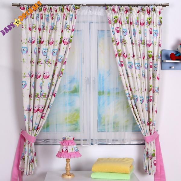 Závěsy Baby Dreams Kolekce Sovičky - růžové (vzor: Kolekce Sovičky - růžové, 155x175cm)