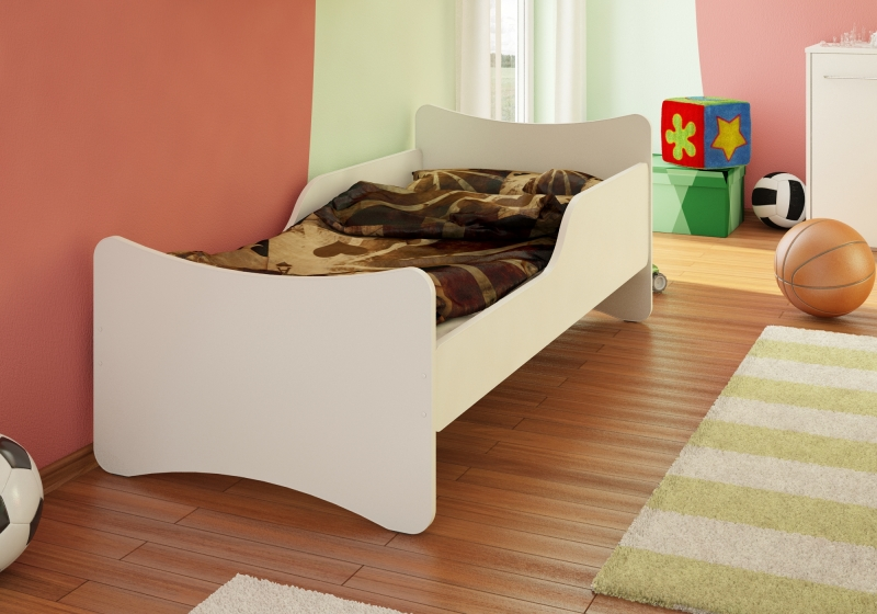 NELLYS Dětská postel se zábranou -bílá, 200x90 cmvel. 200x90