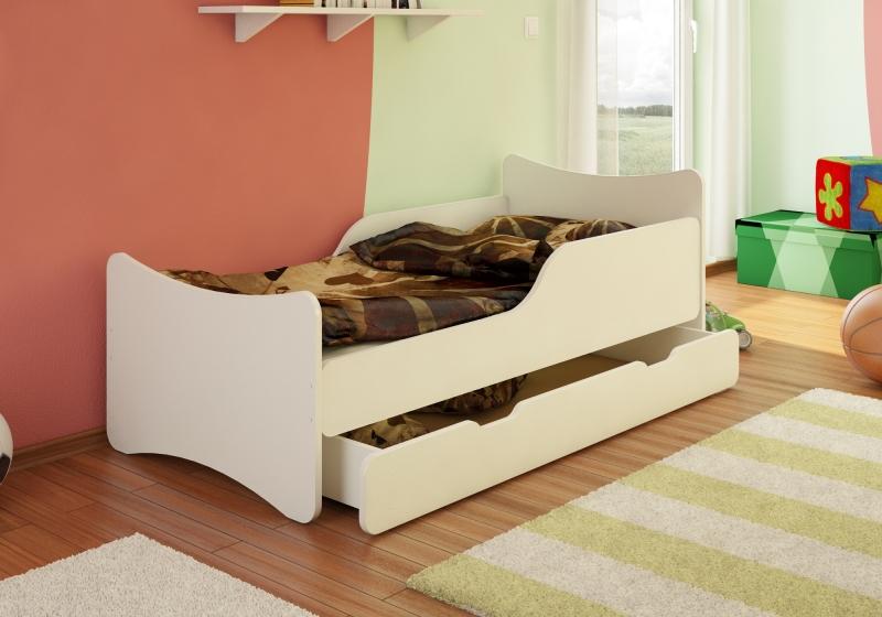 Dětská postel se zábranou a šuplíkem - bílá