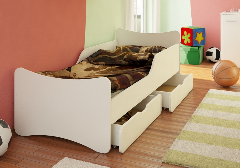 NELLYS Dětská postel se zábranou a šuplíkem - bílá,200x90 cm.