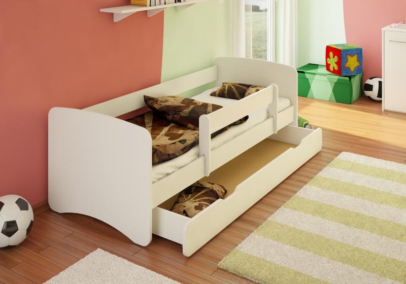 Dětská postel s bariérkou a šuplíkem Filip - bílý, 160x80 cm