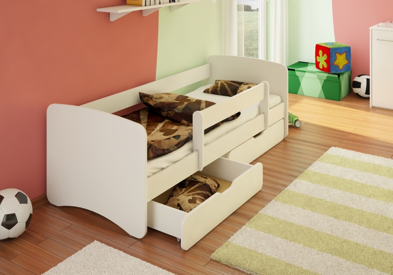 Dětská postel s bariérkou a šuplíkem Filip - bílý, 180x80 cm