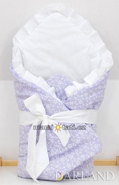 Luxusní zavinovačka s mašlí - Květinky ve fialové