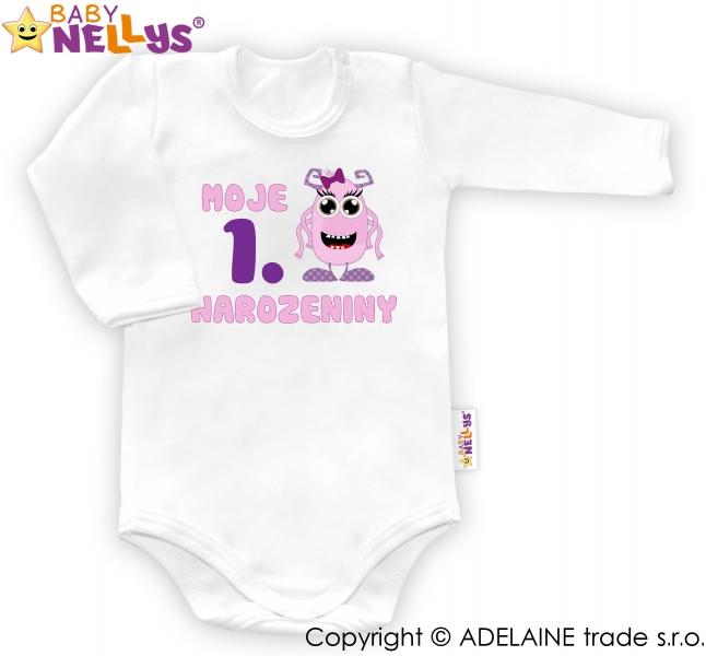 Body dl. rukáv - Moje 1. narozeniny Holka Baby Nellys ®, Velikost: 80 (9-12m)